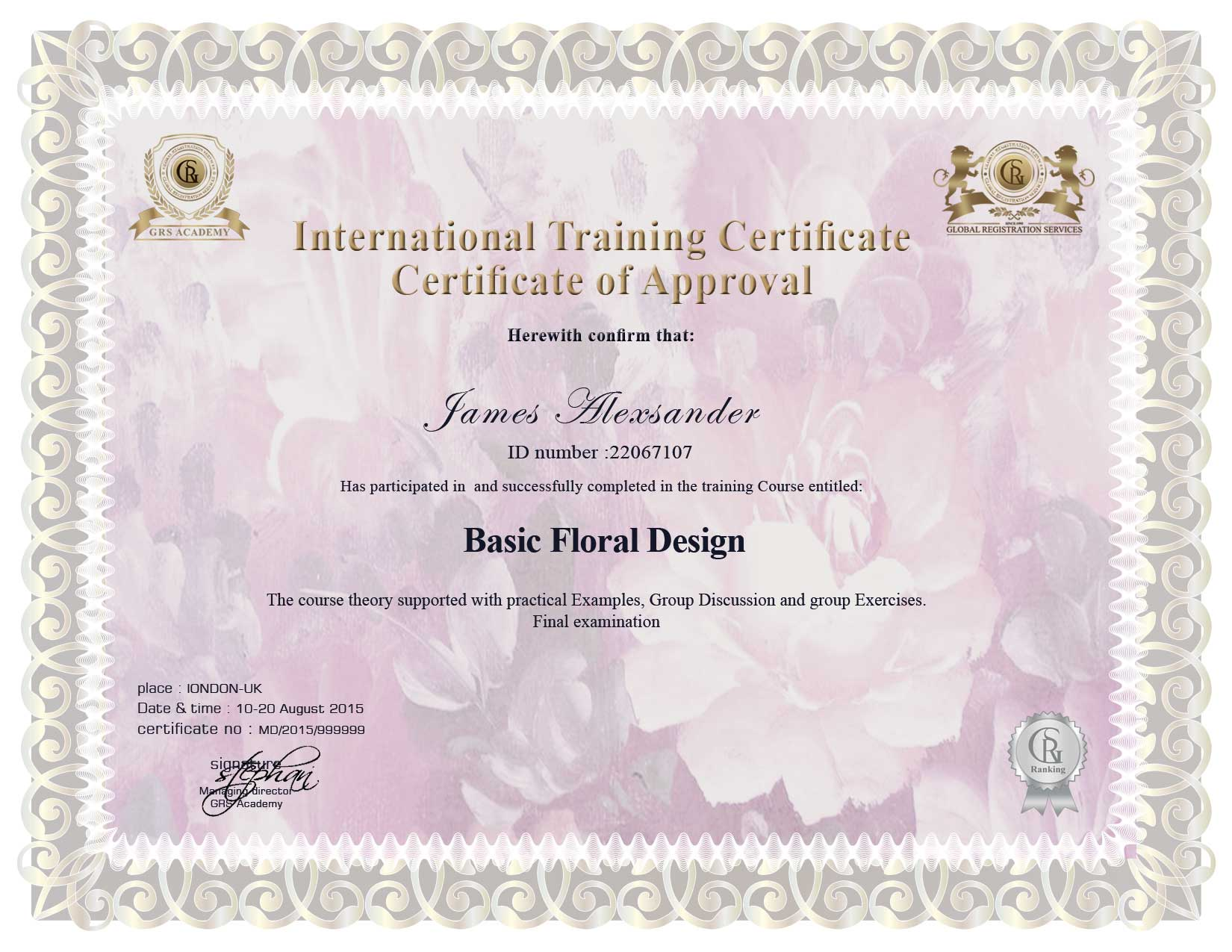 training certificate global registration services